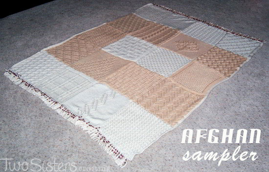 Sampler Afghan in Ivory and Beige