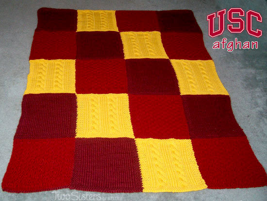 Patchwork Trio Afghan for a USC Fan