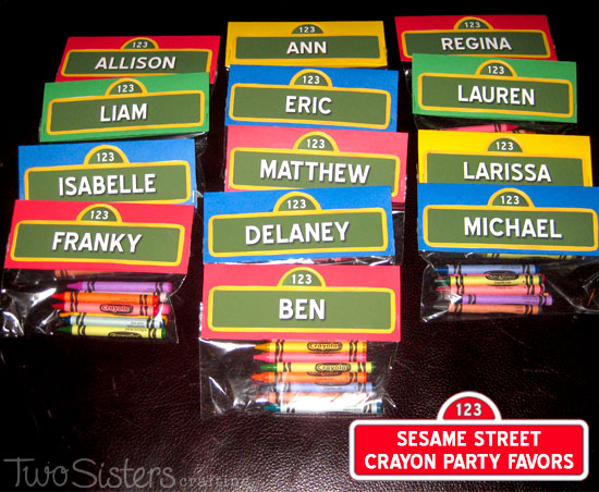 These Sesame Street Crayon Party Favors personalized personalized for each party guest were a big hit at our Sesame Street Birthday and so easy to create.   Follow us for more fun Sesame Street Party Ideas.