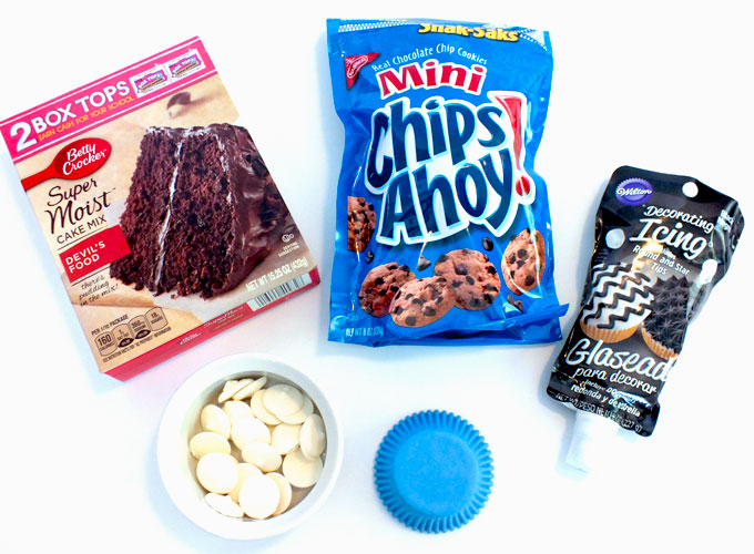 Ingredients for Cookie Monster Cupcakes