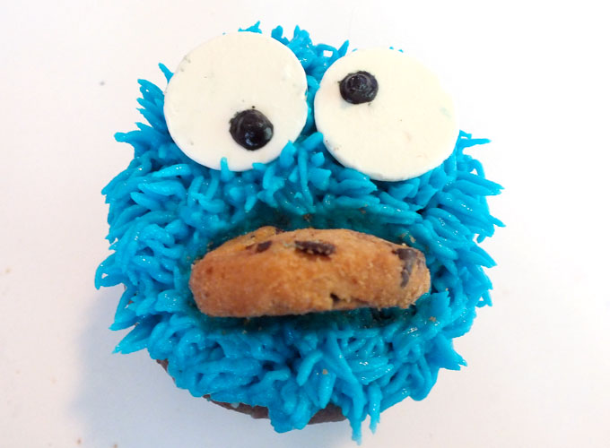 Stick cookie in the Cookie Monster's mouth