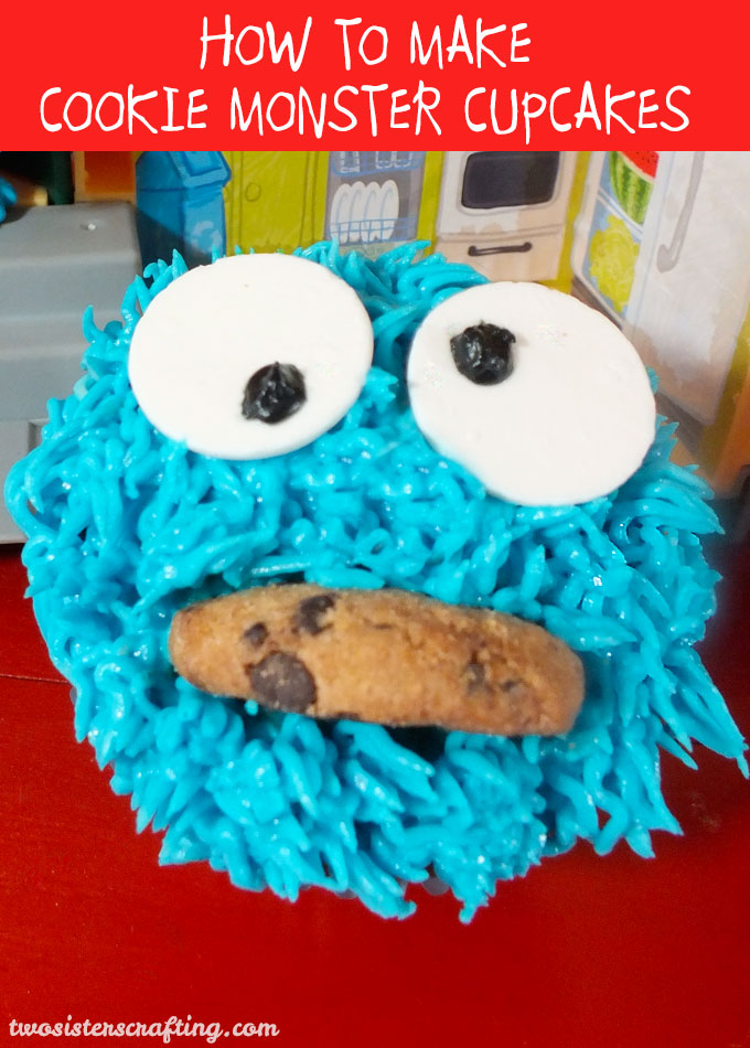 Cookie Monster Cupcakes for a Cookie Monster Birthday Party or Sesame Street Birthday Party - so adorable and so easy to make. The kids at your Sesame Street Party will love these cupcakes! Follow us for more fun Sesame Street Party Ideas.