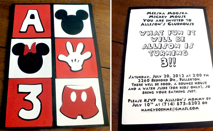 Mickey Mouse Party Invitations Two Sisters
