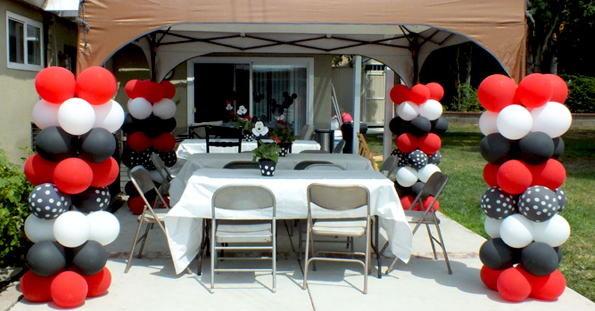 Balloon Columns For A Mickey Mouse Party Two Sisters