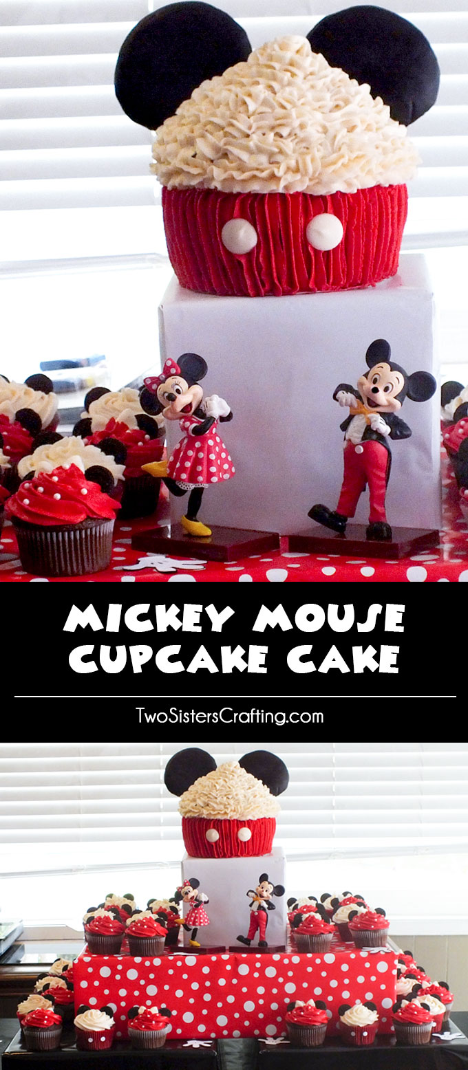 We love how our Mickey Mouse Cupcake Cake turned out. So cute and so yummy and so very Mickey! It was the star of our Mickey Mouse Birthday Party. Follow us for more fun Mickey Mouse Party Ideas.
