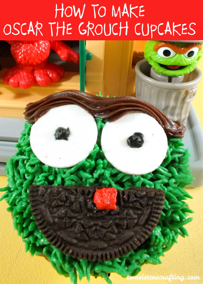 Oscar the Grouch Cupcakes for a Sesame Street Birthday Party - so adorable and so easy to make. The kids are your Sesame Street Party will love these cupcakes! Follow us for more fun Sesame Street Party Ideas.