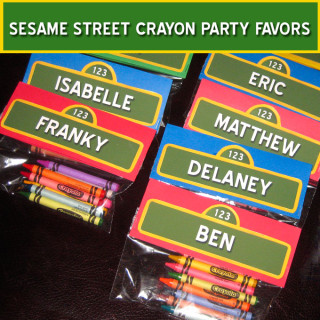 Sesame Street Crayon Party Favors