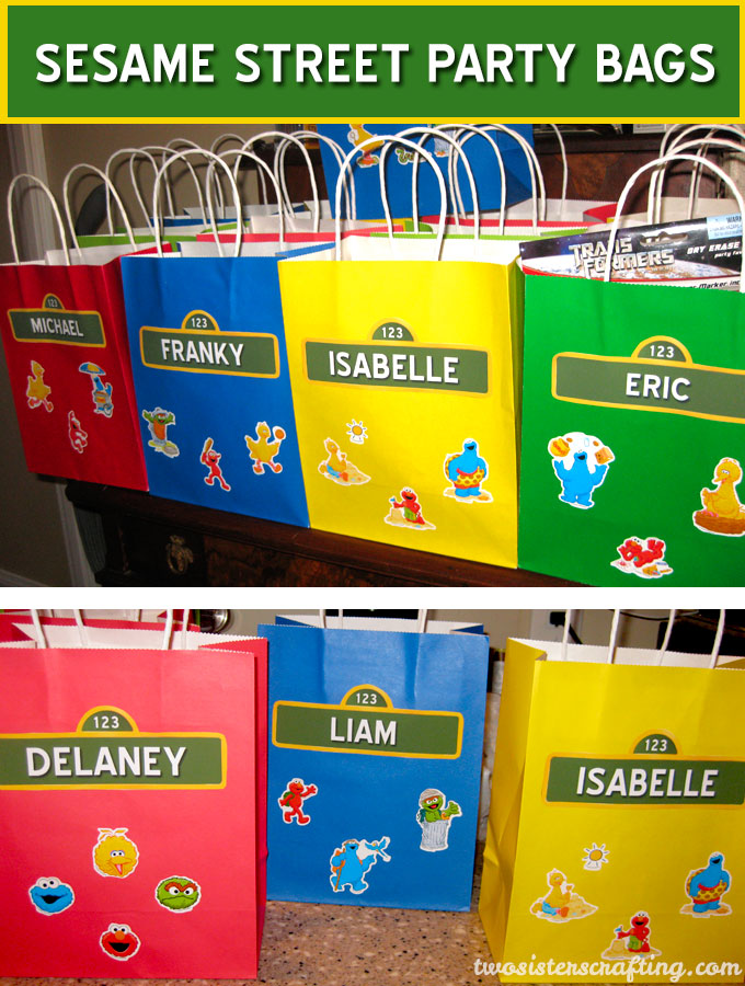 Sesame Street Party Bags With Personalized Name Tags