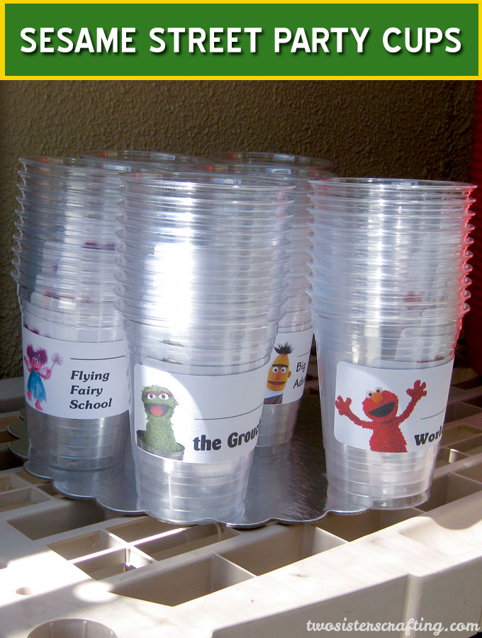 Sesame Street Party Cups with a place for a party-goers name. These will be a fun addition to your Sesame Street Birthday Party. Follow us for more fun Sesame Street Party Ideas.