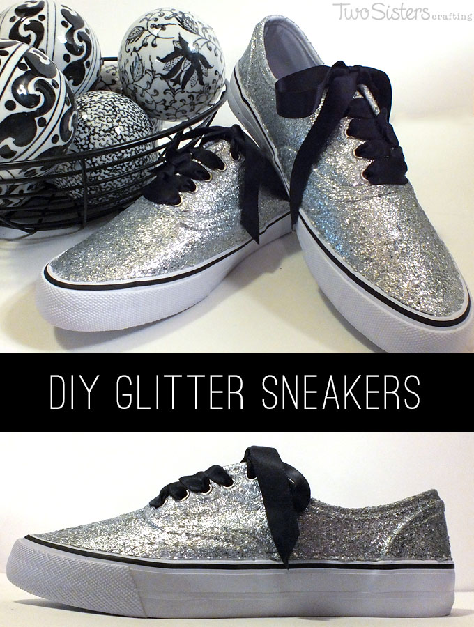 Make your own DIY Glitter Sneakers - so easy and so pretty. This is a fun DIY clothing project.  Make these great DIY Tennis Shoes for yourself or your kids!  Follow us for more DIY Craft Ideas.