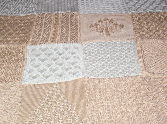 Knitting Stitches Samples : Sampler Afghan in Ivory and Beige - Two Sisters Crafting