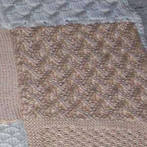 Grapevine Lace Knitting Pattern : Sampler Afghan in Ivory and Beige - Two Sisters Crafting