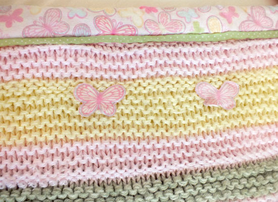 Butterfly Baby Blanket Knitting Pattern : Baby Girl Crib Bedding with Butterfly Theme - Two Sisters Crafting
