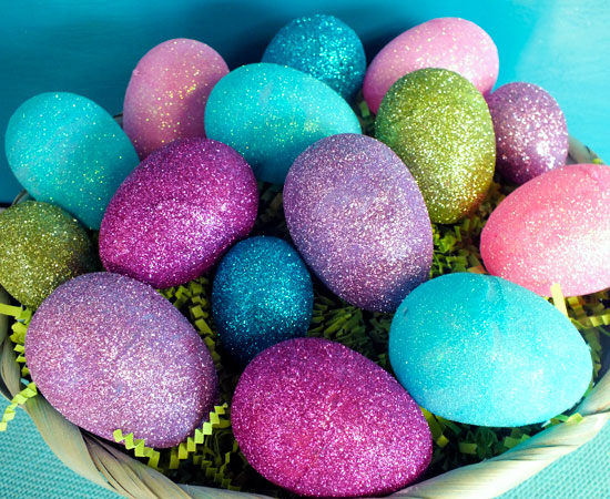 Basket Full Of Glitter Easter Eggs