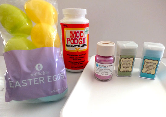 Supplies to make Glitter Easter Eggs
