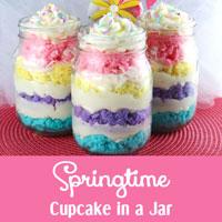 Springtime Cupcake in a Jar