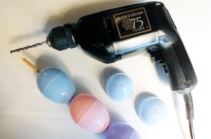 Drilling holes in plastic eggs