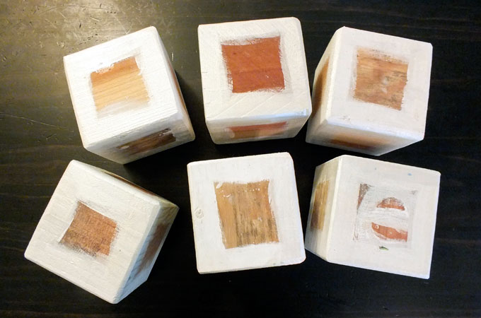 Painting the edges of the wooden blocks