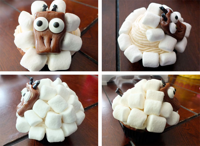 Adding Marshmallows to the Sheep Cupcakes