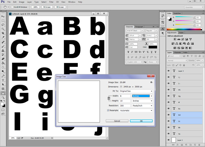 Alphabet stencil made in Photoshop
