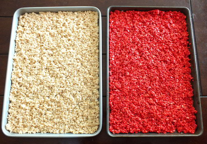 Rice Krispie treats in two cookie sheets