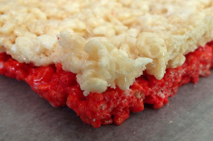 First layer of 4th of July Rice Krispie Treats