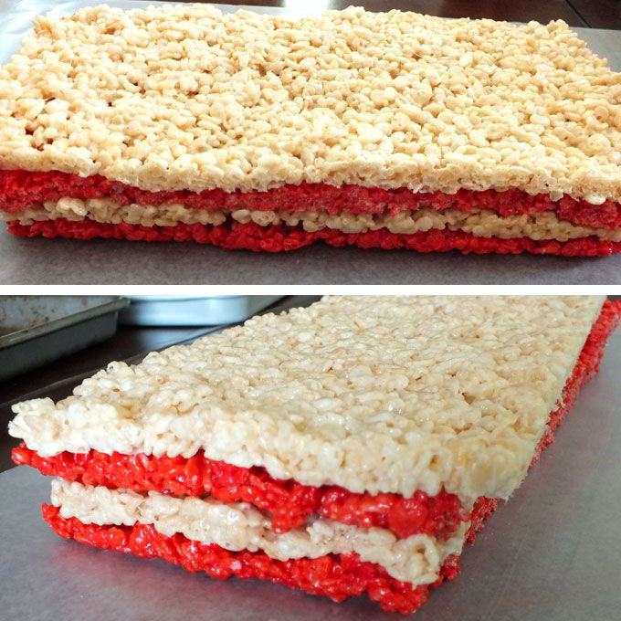Bottom half of 4th of July Rice Krispie Treats