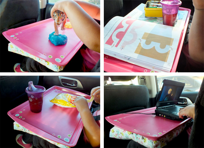 we used a cookie sheet and some scrap fabric to make this diy road trip travel