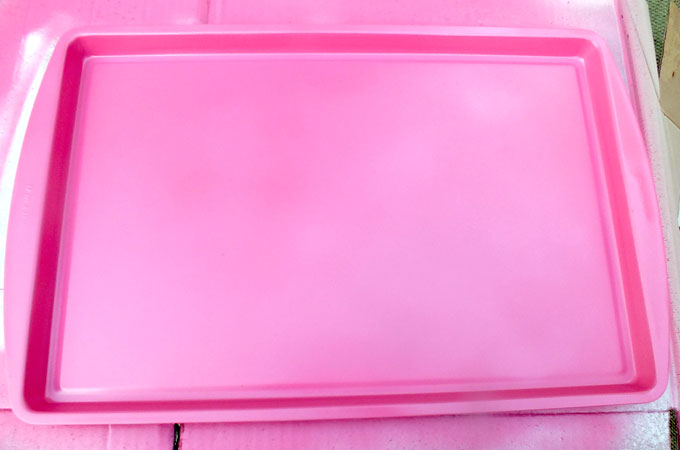 Spray Painting The Cookie Sheet