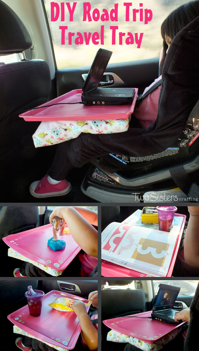 We used a cookie sheet and some scrap fabric to make this DIY Road Trip Travel Tray - a must have item on a multi-hour car trip with a toddler! For more fun Kid's Crafts, follow us on Pinterest.
