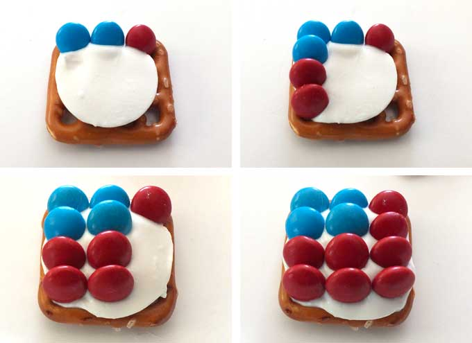 How to arrange the M&M's to the Patriotic Pretzel Bites