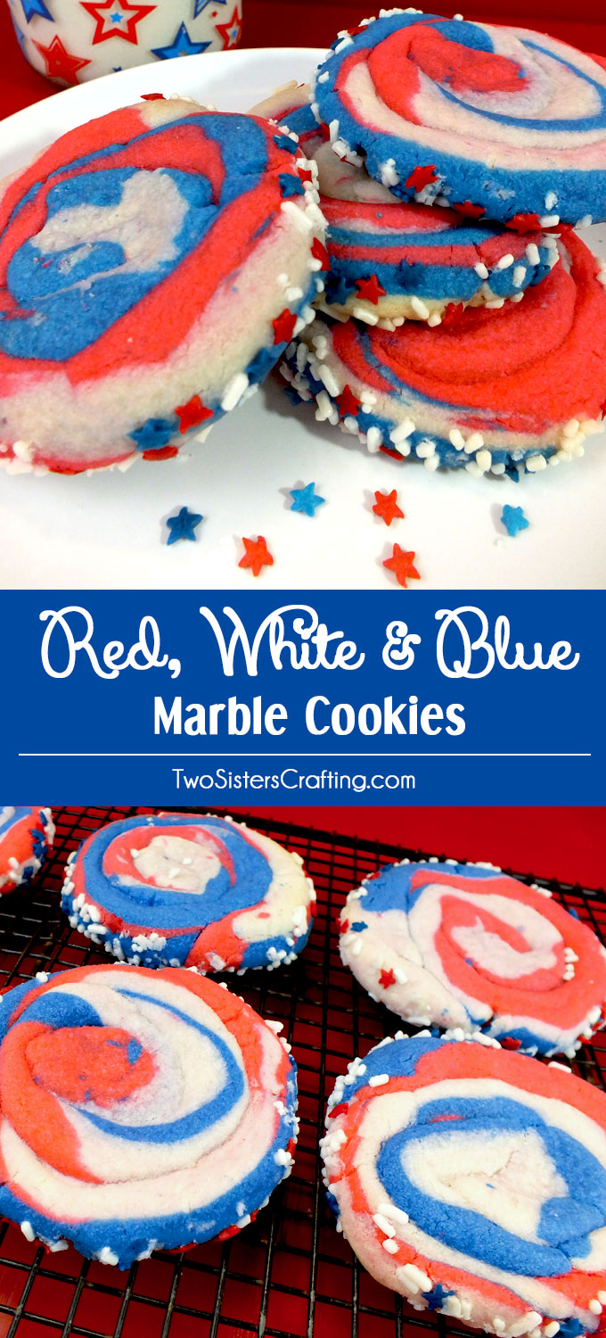 Red White and Blue Marble Cookies - a fun 4th of July Cookie that is so easy to make. Swirls of red white & blue sugar cookie dough transform this patriotic dessert into the perfect Fourth of July treat or Memorial Day food. Pin 4th of July dessert for later and follow us for more great 4th of July food ideas.