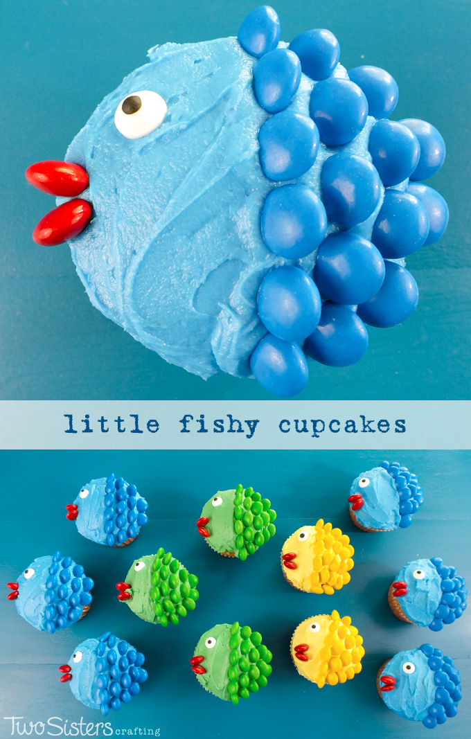 Little Fishy Cupcakes - pretty, colorful, yummy and very easy to make. We promise, anyone can do it! All you need are cupcakes, frosting and M&M's. For more fun cupcake decorating ideas follow us on Pinterest.