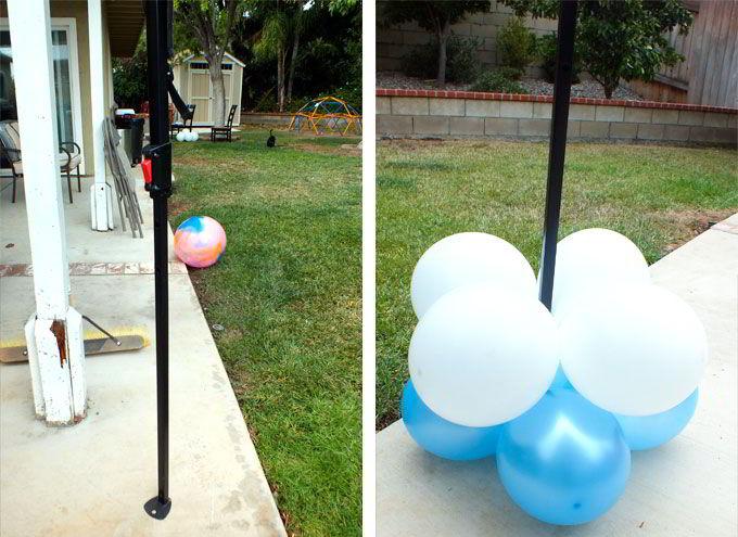Using quad balloon groupings to create column