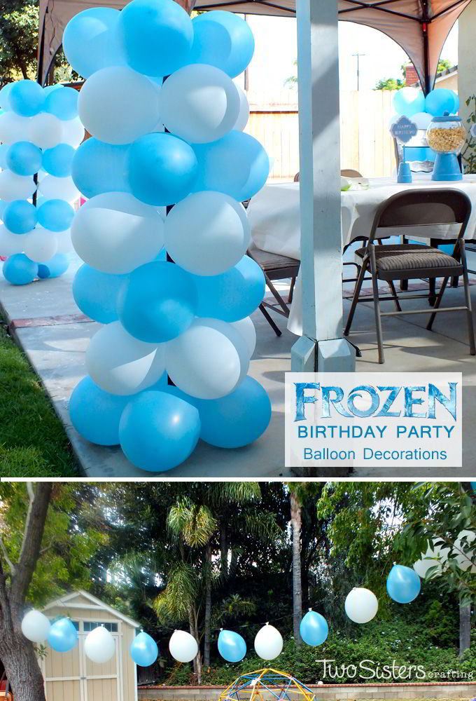 Disney frozen balloon decorations two sisters crafting for How to make balloon arrangements for parties