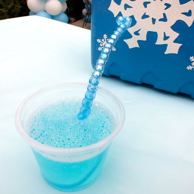DIY Bubble Wand at our Frozen Party