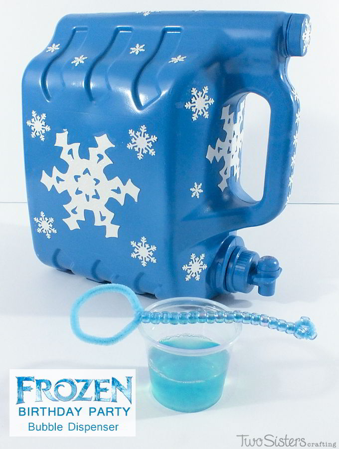 This Frozen DIY Bubble Station is a great activity for an outdoor Frozen Birthday Party. Kids can use the Bubble Dispenser to get their own DIY bubble solution and let the fun commence! Follow us for more fun Frozen Party Ideas.