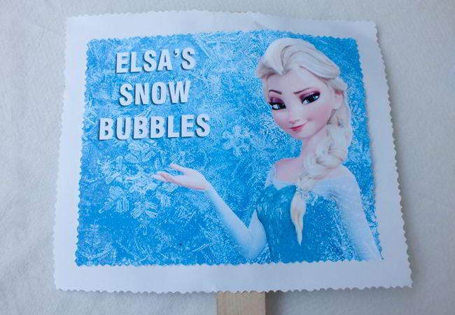 Elsa's Snow Bubbles Sign for the Frozen Bubble Station