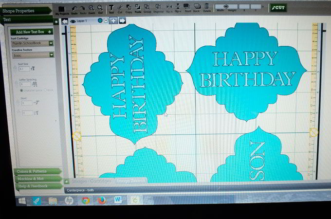 Using the Cricut to cut-out the Birthday Signs