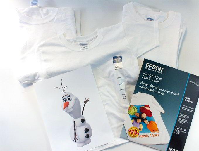 DIY Olaf Shirt Project Supplies