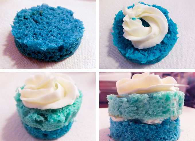 Assembling the Ombre Mini Cakes