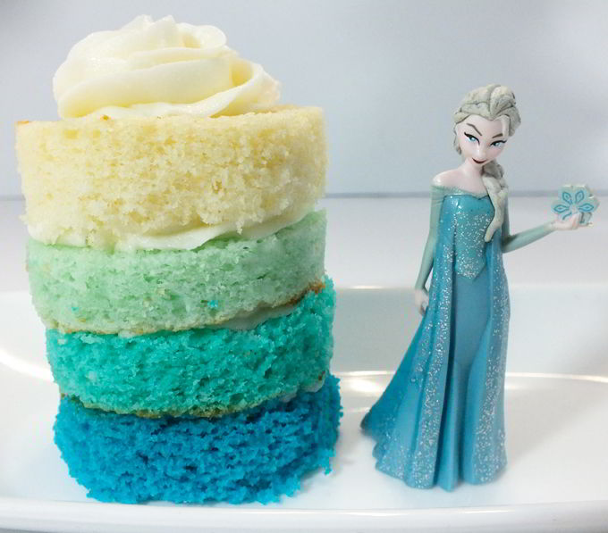 Disney Frozen Ombre Mini Cakes for a Frozen Birthday Party - so beautiful and very yummy! Try this unique take on a Frozen Cupcake for your own Frozen Party. And follow us for more great Frozen Party Ideas.
