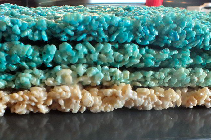 Four layers of Rice Krispe Treats