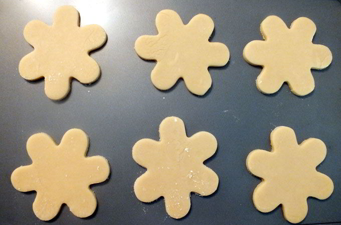 Bake Snowflake Cookies in oven