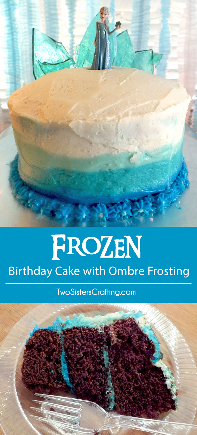 Disney Frozen Birthday Cake with Ombre Frosting - this beautiful Frozen themed chocolate cake with Ombre Buttercream Frosting and a Hard Candy Frozen Fractal Ice Castle Cake Topper was a hit at our Frozen Birthday Party. Follow us for more great Frozen Party ideas.
