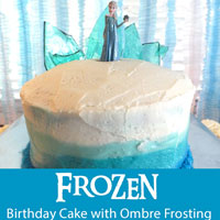 Frozen Birthday Cake with Ombre Frosting