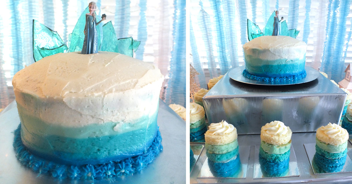 Frozen Birthday Cake With Ombre Frosting Two Sisters