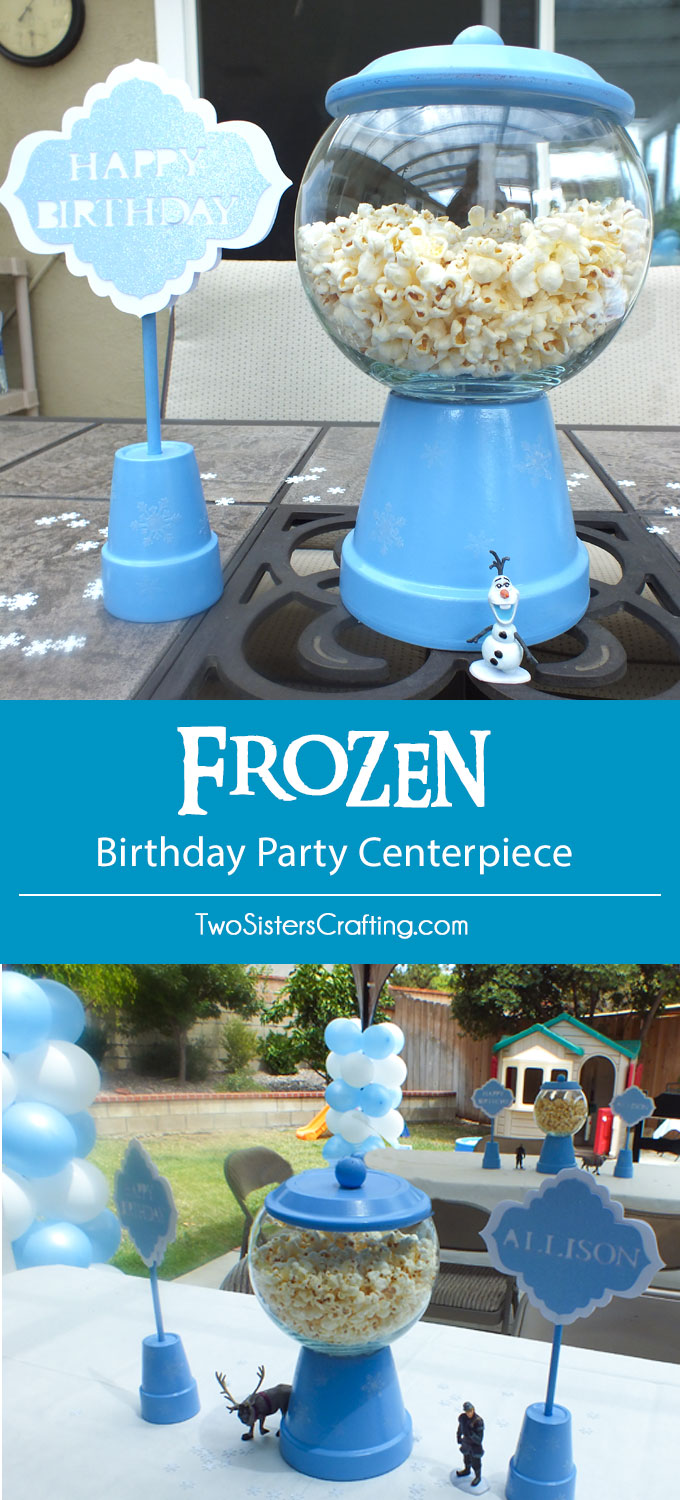We made these Bubble Gum Machine style Disney Frozen Centerpieces for our Frozen Birthday Party and filled them with popcorn - they were a big hit! Follow us for more fun Frozen Party Ideas.