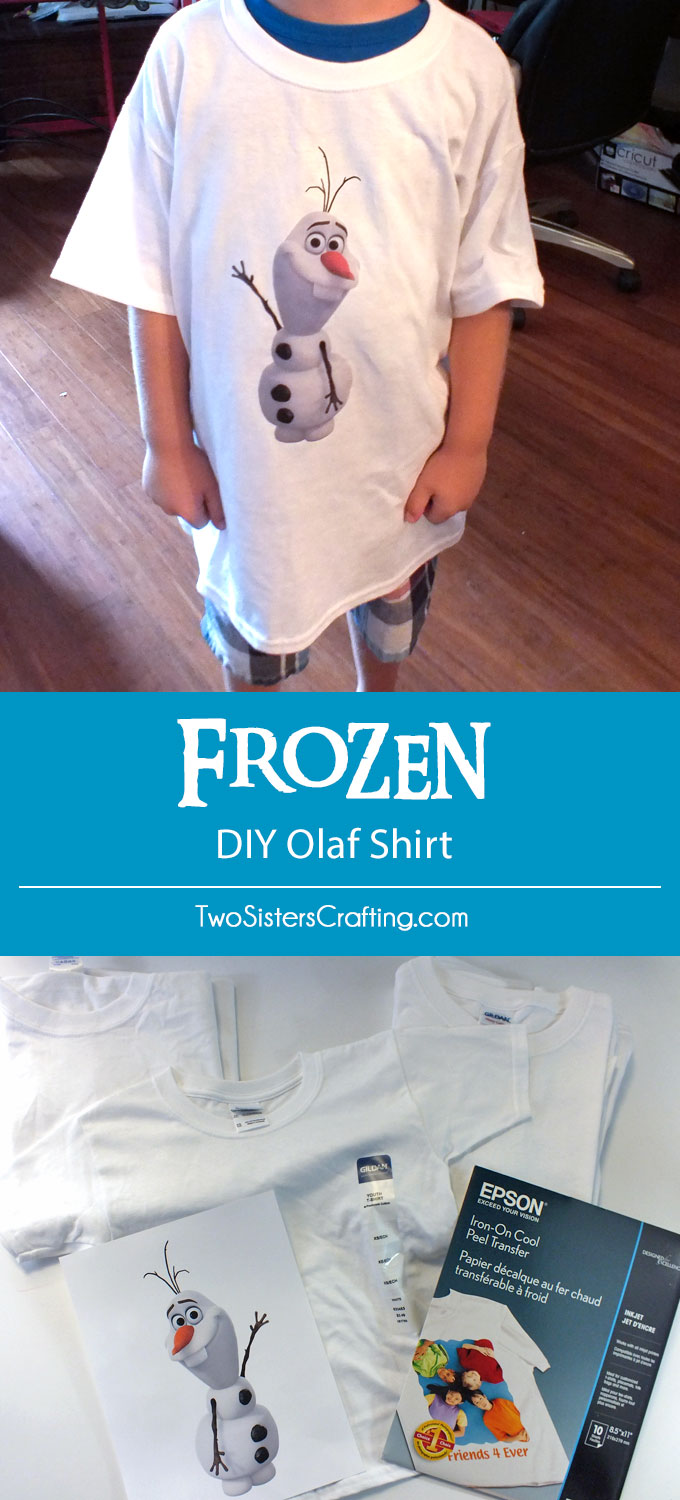 Disney Frozen DIY Olaf Shirt - a super easy DIY party favor for boys (and girls!) at a Frozen Birthday Party. Follow us for more great Frozen Party Ideas.