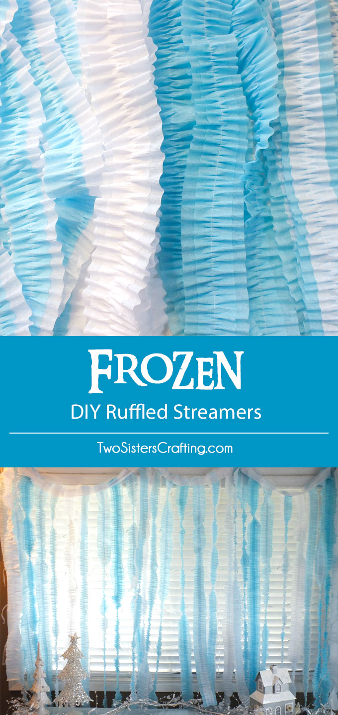 Disney Frozen DIY Ruffled Streamers - an easy and inexpensive party decoration project for a Frozen Birthday Party. We have all the directions you'll need to make this pretty party backdrop. Follow us for more Frozen Party Ideas.